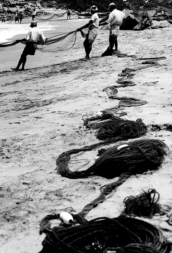 Fishermen dragging fishnet