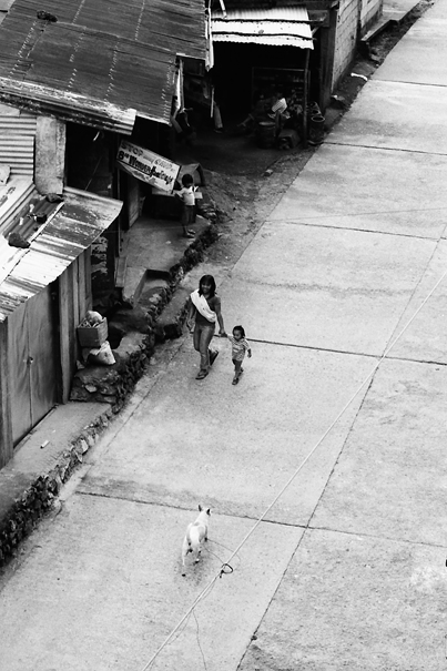 Mother, Daughter And Dog On The Road @ Philippines