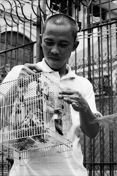 Man carrying bird cage