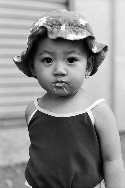 Girl with ice cream mustache