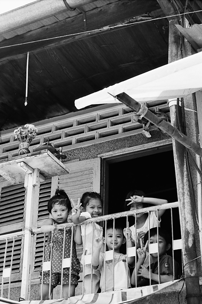 Kids playing on veranda