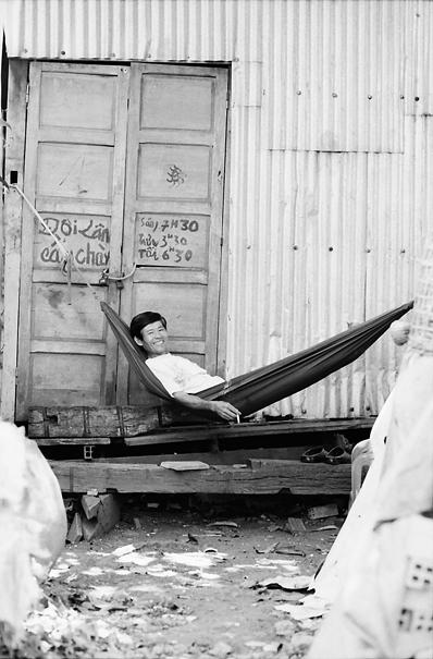 Man relaxing on hammock