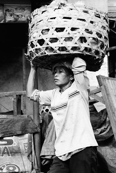 Man carrying big basket on head