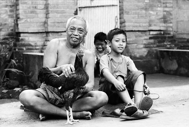 老人と男の子と雄鶏