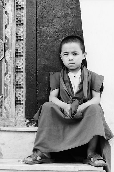 Little Buddhist monk sitting on steps