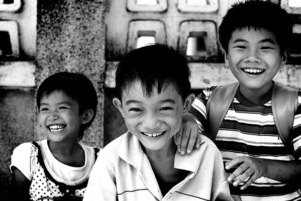 Children laughing altogether