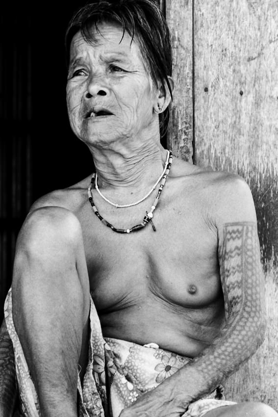 Older woman with tattoo