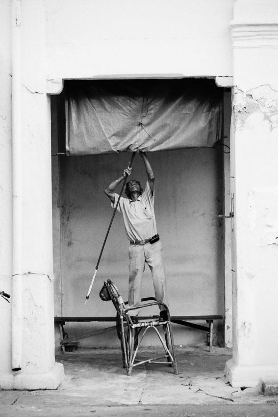 Man packing up