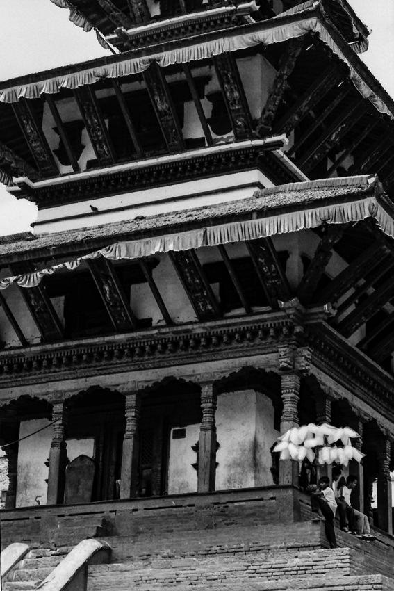 寺院の綿菓子売り