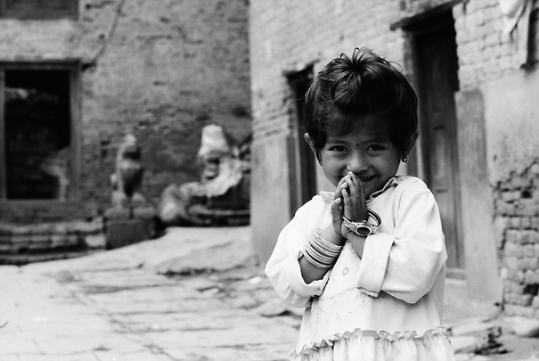 Girl Putting Hands Together @ Nepal