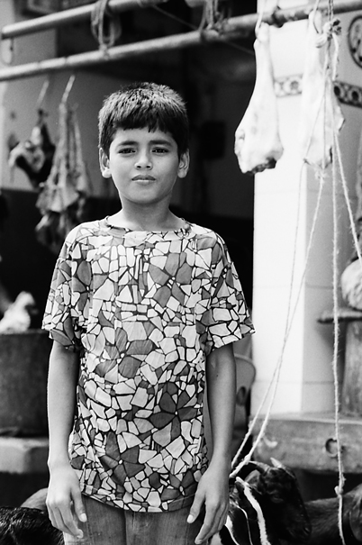 Boy standing upright