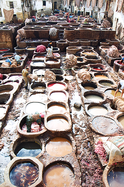Many Tanning Pits In Tanneries (Morocco)