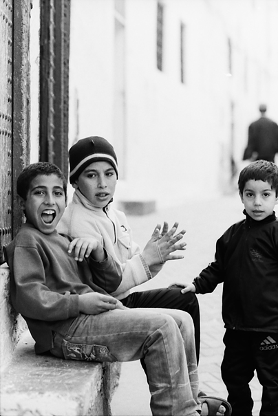 Three Boys Hanging Out In The Lane (Morocco)