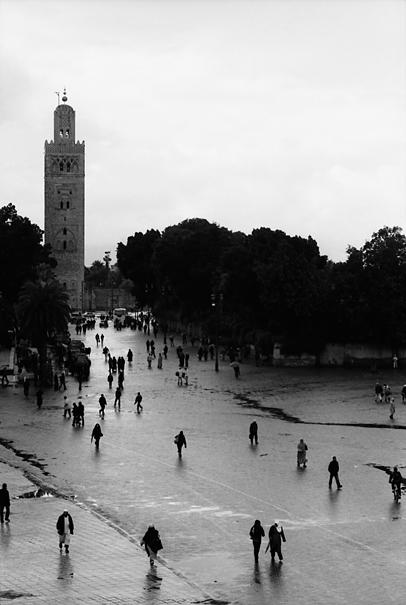 Minaret at end of road