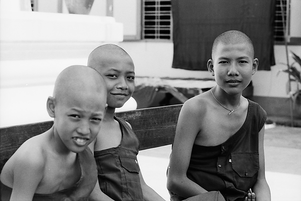 Buddhist monks relaxing