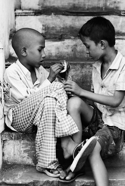 Two Boys On The Stair (Myanmar)