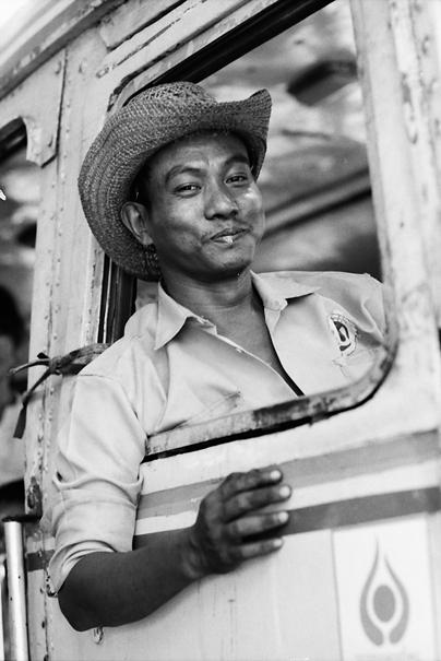 Bus Driver Wearing A Cowboy Hat (Myanmar)