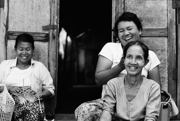 Woman smiling altogether
