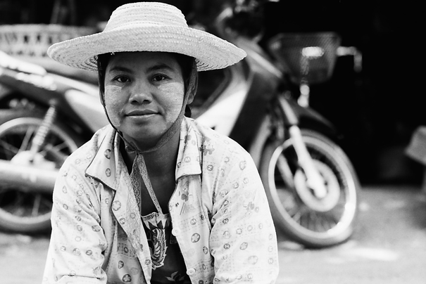 Wide-brimmed Hat And Thanaka @ Myanmar