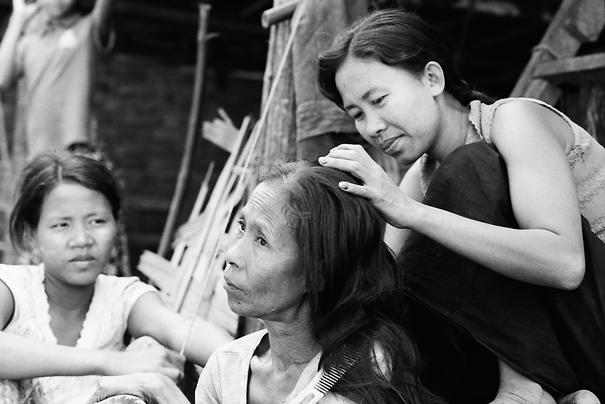 Woman soothing hair
