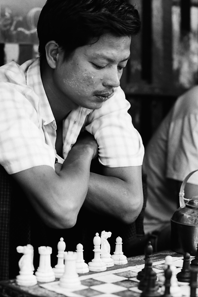 Man thinking about next move