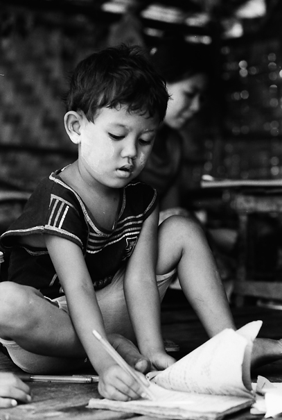 Girl Was Absorbed In Doing Homework @ Myanmar