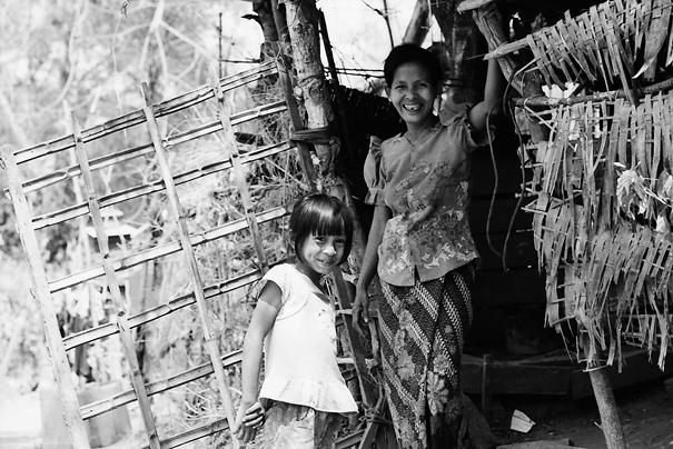 Mother and daughter at entrance