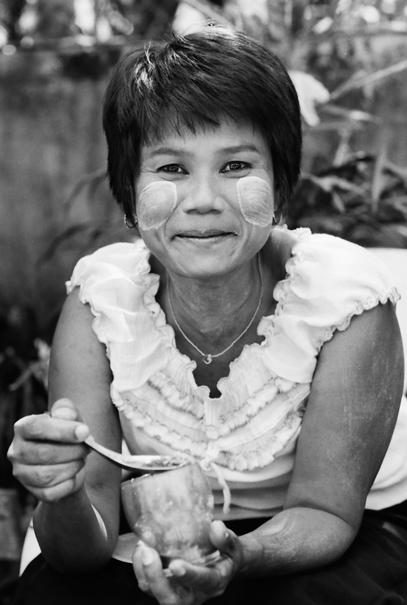 Woman tasting sweet things