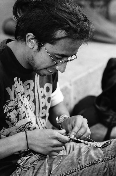 Man making accessories
