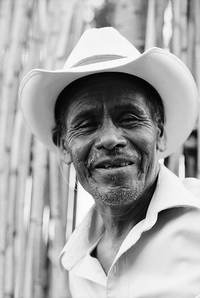 Old man wearing cowboy hat