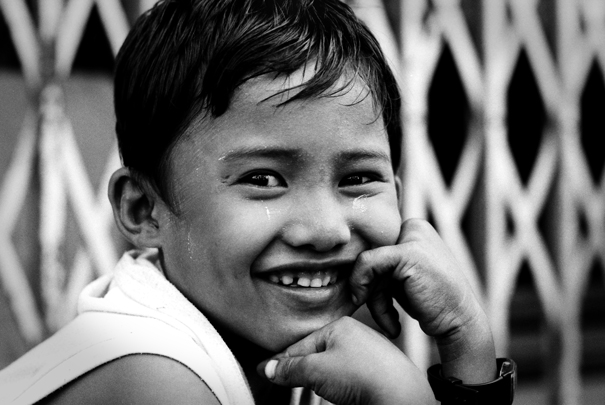 Boy smiling happily