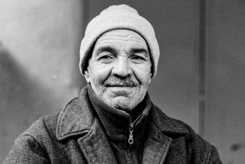 Man wearing knit cap