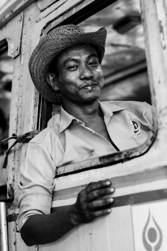 Driver wearing cowboy hat