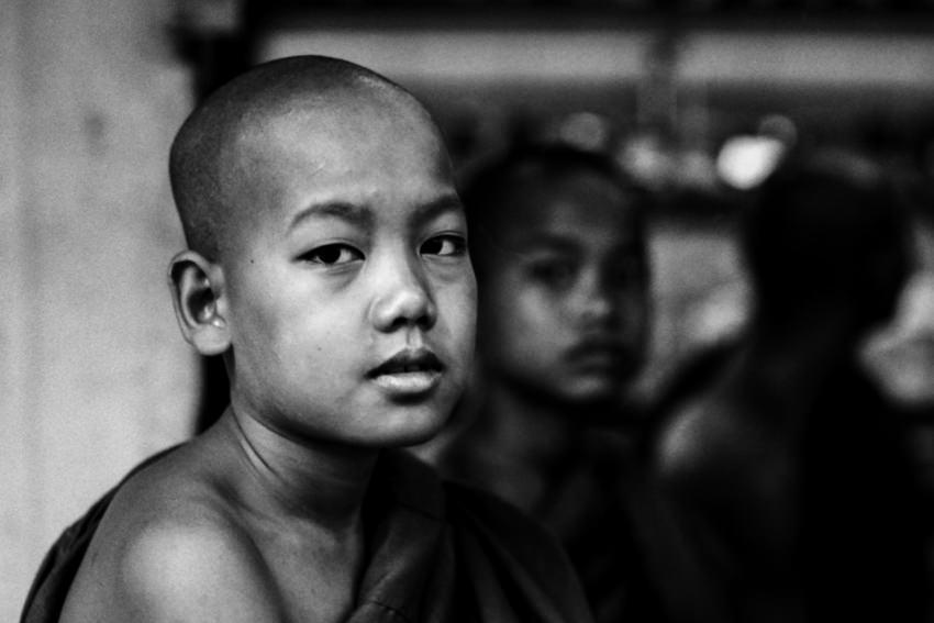 Young Buddhist monk wearing Kasaya
