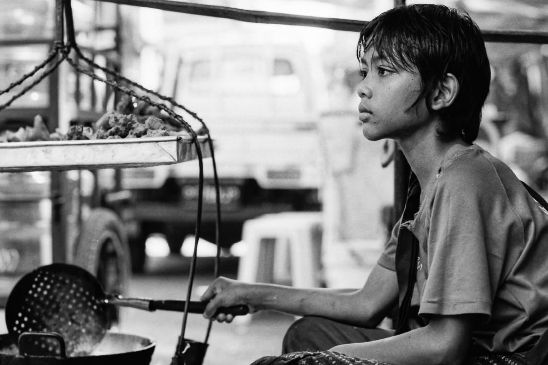 Boy frying