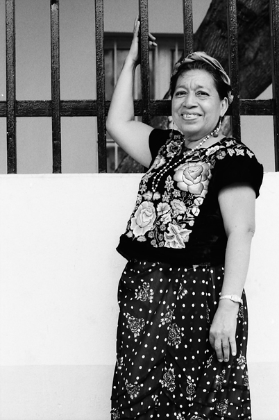 Woman wearing embroidered costume