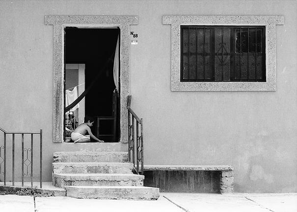 Boy playing alone