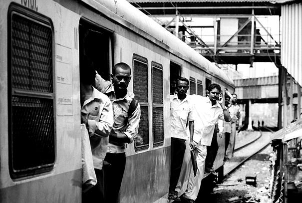 Passengers on commuter railway