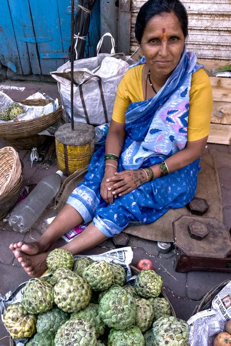 Woman Selling Custard Apples (India)