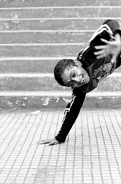 Boy doing handstands