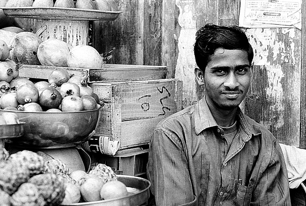 Man working in greengrocery