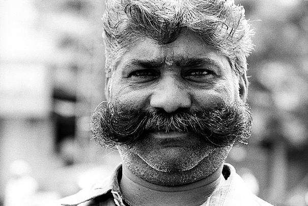 Man wearing handlebar mustache