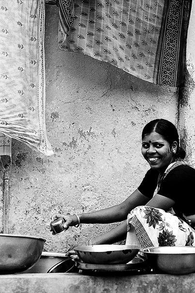 Woman working in water place