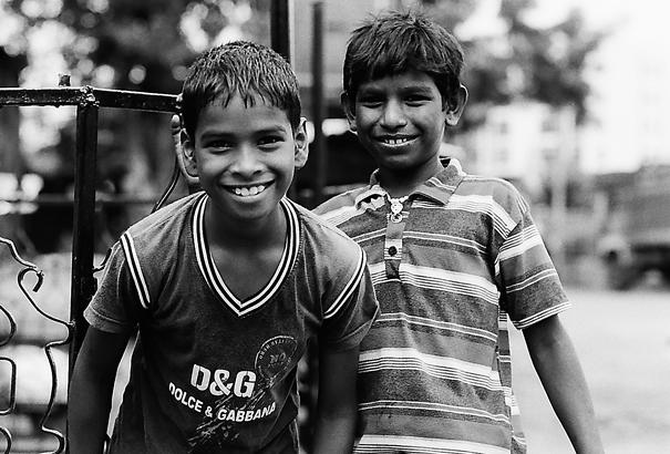 Affable smile and bashful smile
