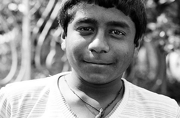 Man smiling happily