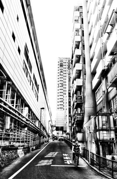 Slope between buildings