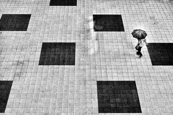 Squares On The Ground And An Umbrella @ Tokyo