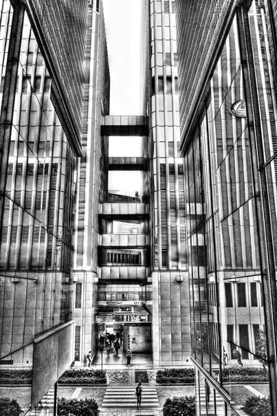 Pedestrian crossing between buildings