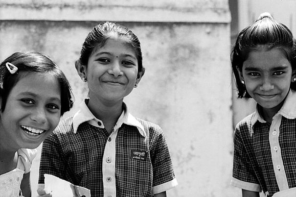 Three Girls Wearing Checkered Uniform (India)