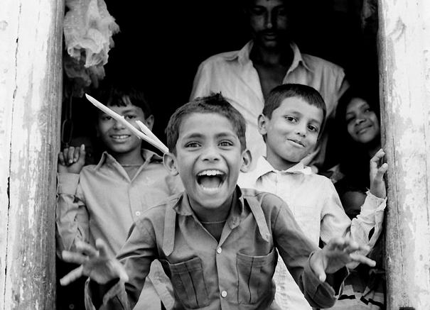 Exaggerative Boy At The Door (India)
